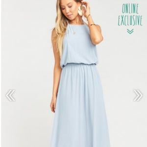 SMYM Heather Halter Steel Blue Bridesmaid Gown
